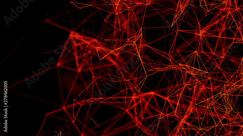 Fototapety, obrazy: Digital plexus of glowing lines and dots. Network of shiny lines. Abstract background. 3D rendering.