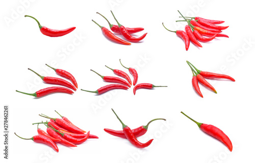 Cadres-photo bureau Hot chili Peppers set of red hot chili peppers isolated on white