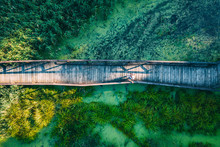 Aerial Top View Of Woman Trave...