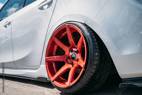 Pinturas sobre lienzo  Lowrider custom tuned sport car wheel with small rubber tyre and large disk