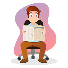 Illustration Of Young Man Reading A Newspaper In The Office