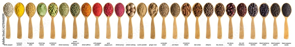 Fototapety, obrazy: Various spices and herbs poured into a wooden spoon. Seasonings for food isolated on white background.