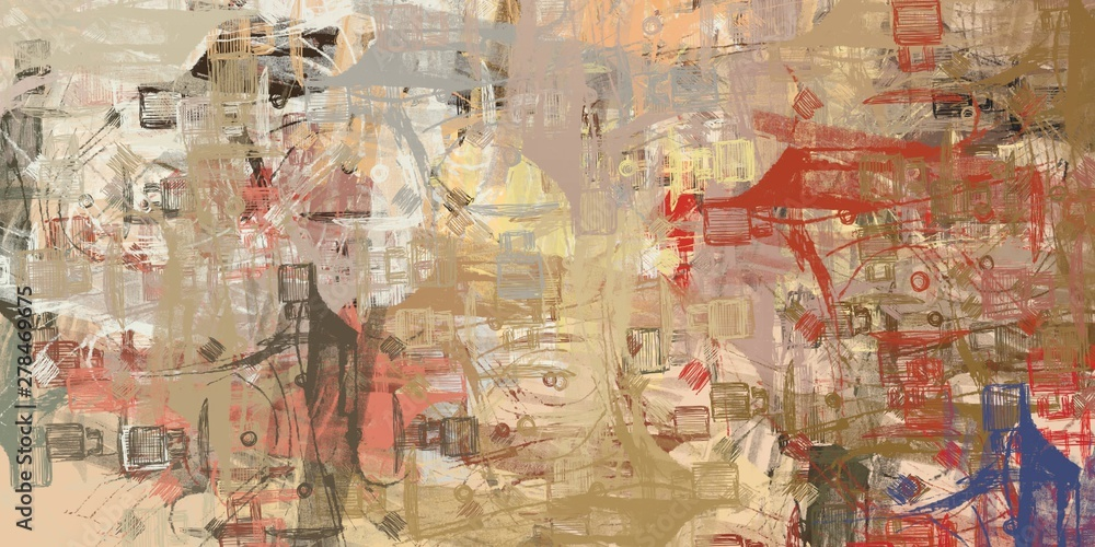 Fototapety, obrazy: Crazy sketch random pattern. Chaos and variety. Modern art drawing painting. 2d illustration. Digital texture wallpaper. Artistic sketch draw backdrop material.