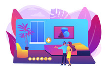Couple In VR Glasses. Property Virtual Reality Simulation. Real Estate Virtual Tour, VR Virtual House Tour, Virtual Tours Creating Services Concept. Bright Vibrant Violet Vector Isolated Illustration