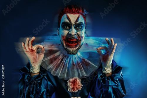 Ingelijste posters Halloween crazy joker man