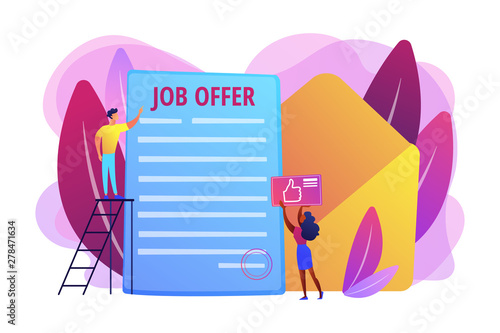 Deurstickers Snelle auto s Successful business deal. Employee hiring, recruiting service. Job offer letter, international volunteer program, permanent contract concept. Bright vibrant violet vector isolated illustration