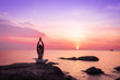 canvas print picture - Asian girl practice Yoga on the beach Sunrise morning day