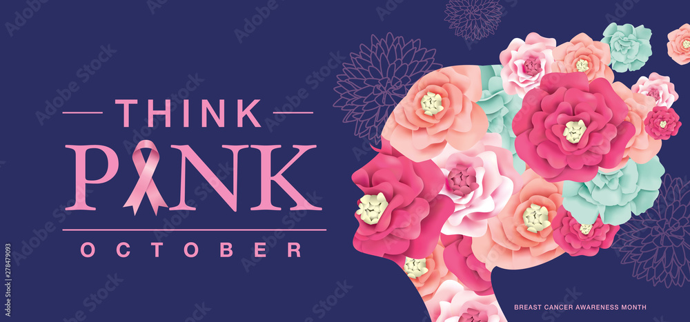 Fototapeta Breast Cancer Awareness Month poster design with silhouette of woman's head and flowers