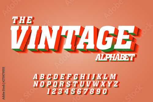 Vintage 3d fonts, alphabet letters and numbers  Text font