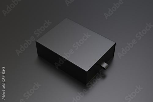 Vászonkép Blank sliding drawer  hard cardboard box for branding presentation 3d render illustration
