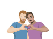 Two Gay Men With Folded Fingers In The Shape Of A Heart