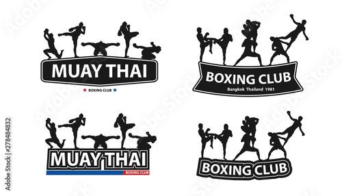 Photo  Kickboxing, Thai boxing, Muay Thai action on flat big letters ideas concept, Vec