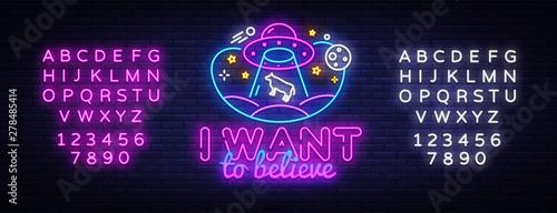 Stampa su Tela UFO neon sign vector design template