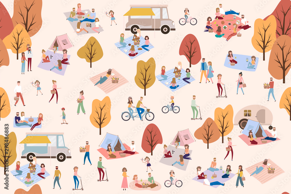 Fototapety, obrazy: Flat design of group people outdoor in the autumn park on weekend. Editable vector illustration.