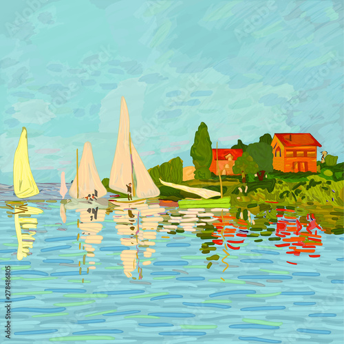 Digital reproduction of the painting Regatta in Argenteuil by Claude Monet (1872) Wallpaper Mural