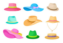 Set Of Hats. Vector Illustrati...
