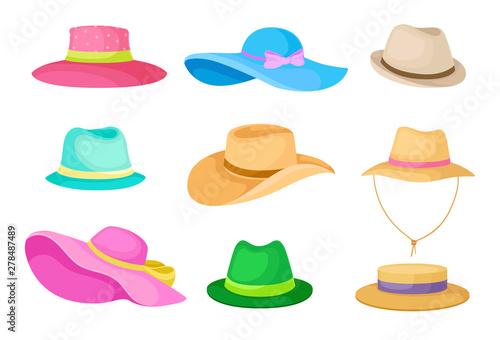 Obraz Set of hats. Vector illustration on white background. - fototapety do salonu