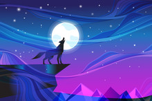 Night Landscape With Howling Wolf At The Moon