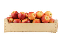 Red Apples In Wooden Box Isola...