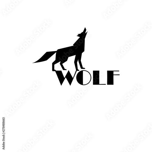 Vászonkép  Black wolf vector sign on white background
