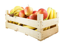 Fresh Fruit In Wooden Box Isolated On White Background