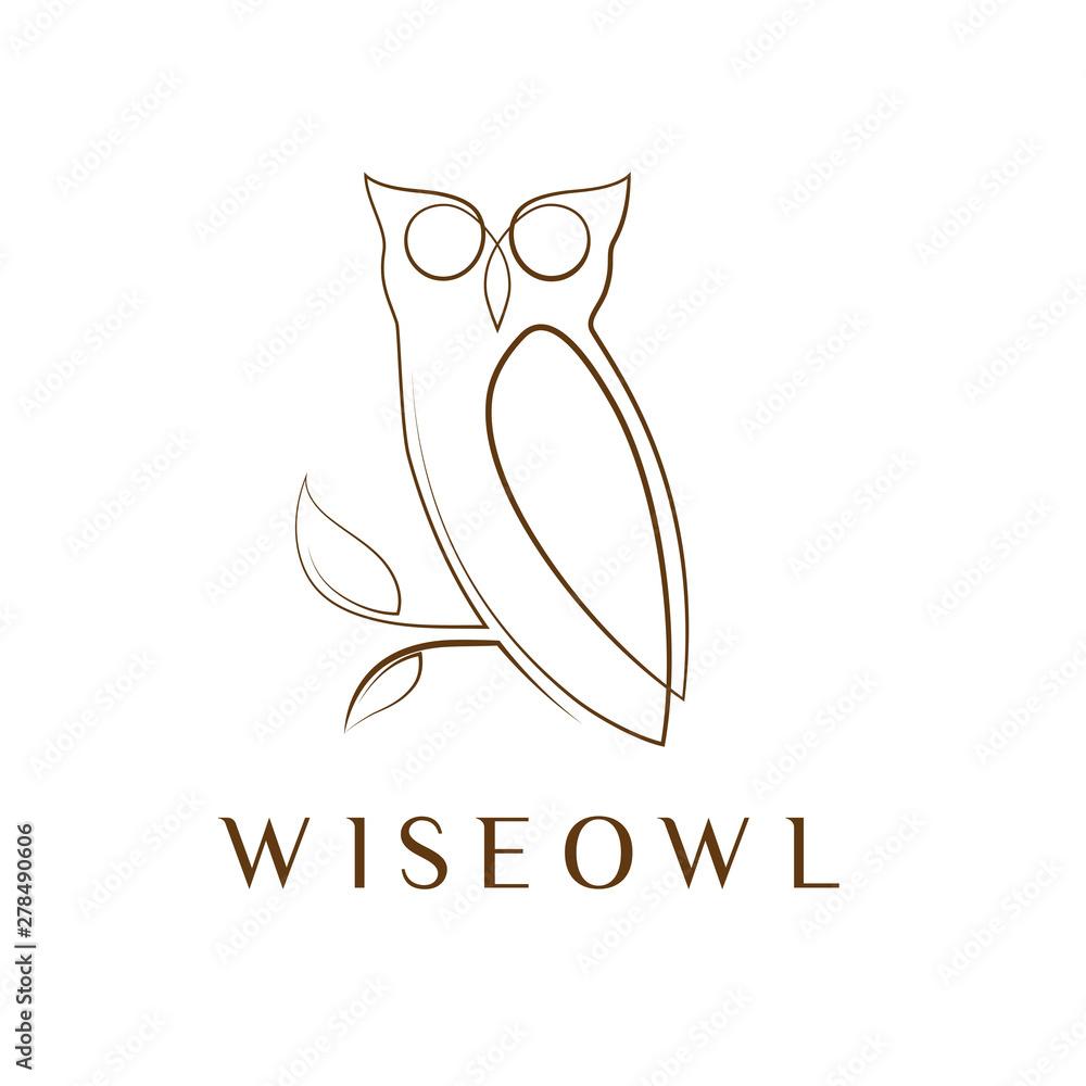 Fototapety, obrazy: Simple elegant monoline owl logo design.