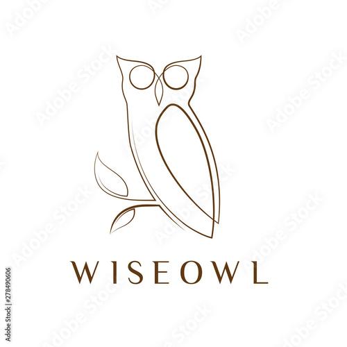 Simple elegant monoline owl logo design. Wall mural