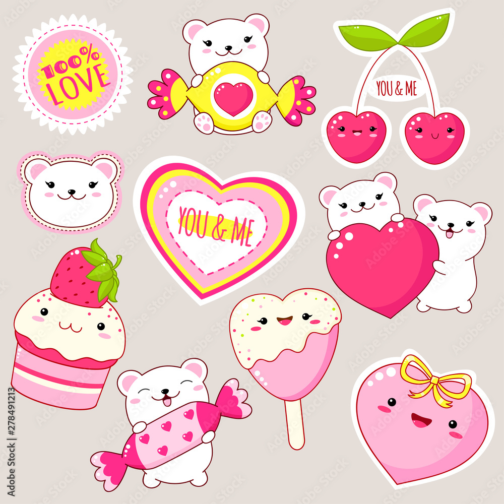 Fototapety, obrazy: Set of cute Valentine's day icons in kawaii style