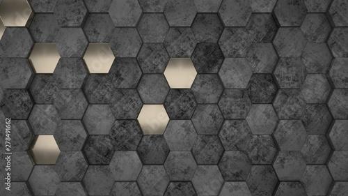 3D Geometric Abstract Hexagonal Wallpaper Background - 278491662