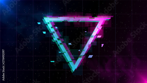 Fototapeta  Synthwave Vaporwave Retrowave Glitch Triangle with blue and pink glows with smoke and particles on laser grid space background