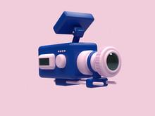 Cinema Camera Cartoon Style Pink Blue 3d Render