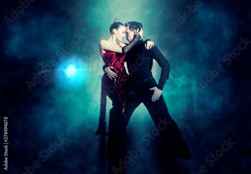 Pair of dancers dancing ballroom - 278494678