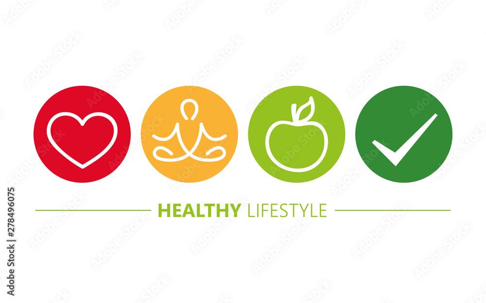 Fototapeta healthy lifestyle icons heart yoga and apple vector illustration EPS10