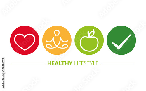 Obraz healthy lifestyle icons heart yoga and apple vector illustration EPS10 - fototapety do salonu