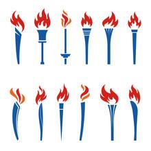 色々なオリンピック聖火のアイコン カラーシンボル