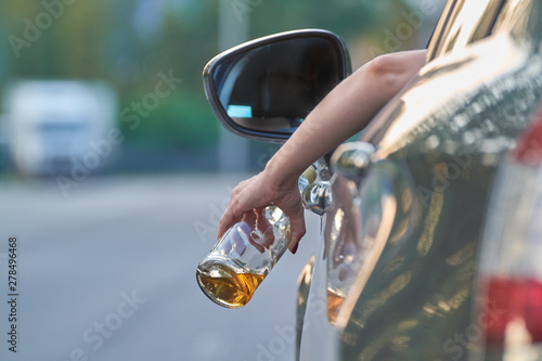 Fotografie, Obraz drunk driver behind the wheel, drunken driving concept