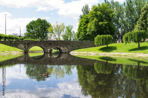 landscape of gardens in monforte de lemos, lugo, galicia, spain
