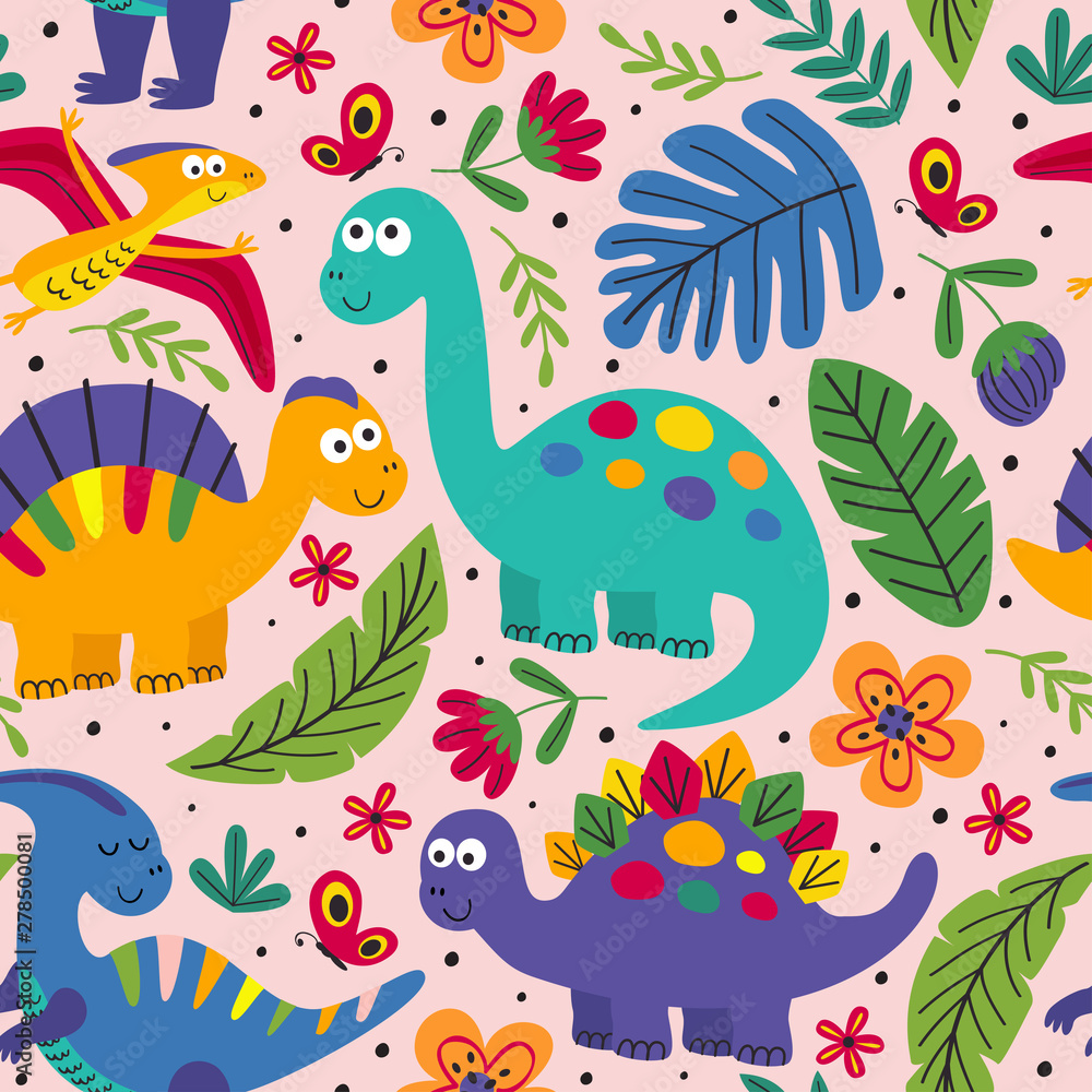 pink seamless pattern with cute dinosaurs - vector illustration, eps