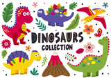 Fototapeta Dinusie - set of isolated cute dinosaurs part 1  - vector illustration, eps