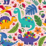 Fototapeta Dinusie - pink seamless pattern with cute dinosaurs - vector illustration, eps