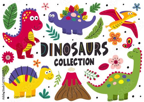 Fotografie, Obraz set of isolated cute dinosaurs part 1  - vector illustration, eps