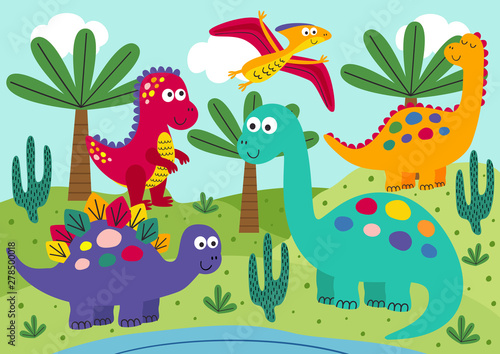 Photo cute dinosaurs with landscape background - vector illustration, eps