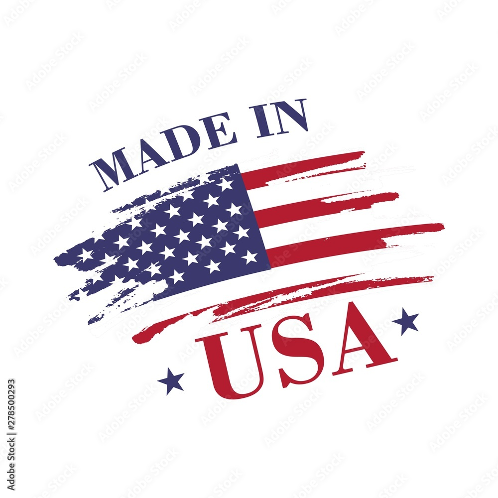 Fototapety, obrazy: Made in USA (United States of America) label. Badge, label for shopping, web