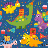 Fototapeta Dinusie - colorful seamless pattern with cute dinosaurs Happy Birthday - vector illustration, eps
