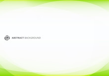Abstract Template Elegant Header And Footers Green Lime Curve Light Template On White Background With Copy Space.