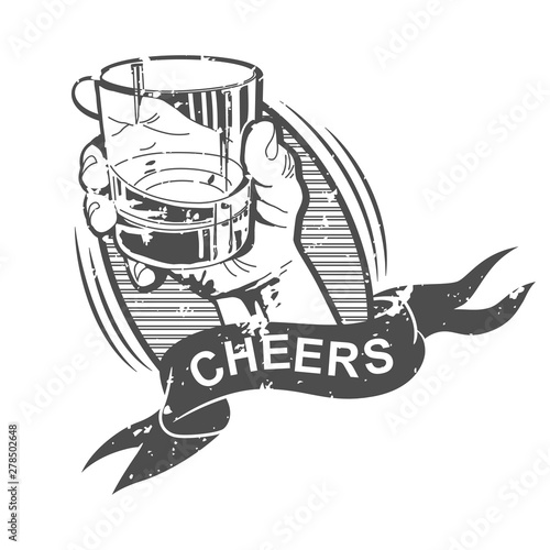 Foto Cheers vector illustration with hand holding whiskey glass and banner ribbon isolated on a white background