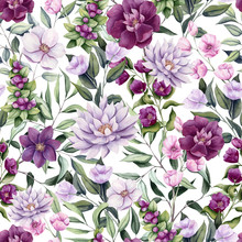 Seamless Pattern Of Watercolor Flowers, Berries And Leaves