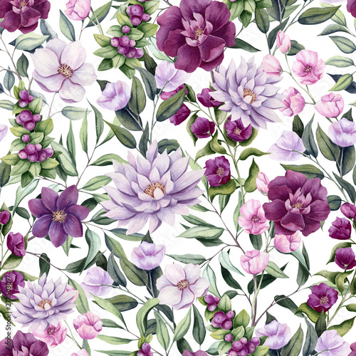 Stampa su Tela Seamless Pattern of Watercolor Flowers, Berries and Leaves