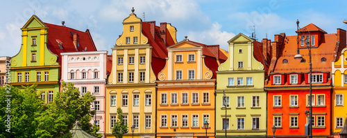 Wroclaw, Poland Old Town Salt Market Square panoramic banner with row of colorful houses © Kisa_Markiza