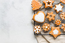 Christmas Gingerbread Background Cookies  On White Texture  Happy New Year Holiday Concept